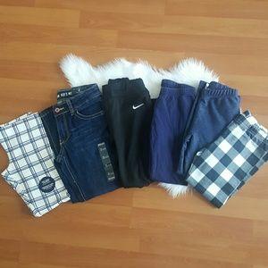 Girls lot of pants jeans carters, Ruum, Nike sz 5